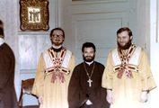 Старшие иподьяконы владыки Кирилла со своим однокурсником иером. Евсевием (Дангаласом)