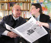 Профессор Оливье Клеман (†2008) с главным редактором газеты «Кифа» Александрой Колымагиной