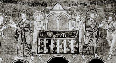 Евхаристия. Мозаика апсиды храма Св. Софии в Киеве. 1043-1046 гг.